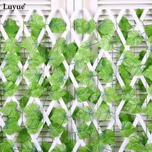 Luyue 48 шт./лот 240cmArtificial Виноградный плющ листья Настенные зеленые растения Лоза Листва дома Сад Гирлянда декоративные цветы