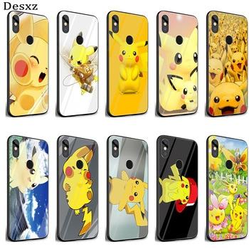 Funda de cristal Gerleek con dibujos animados japoneses de anime Pikachues, funda estampada para Xiaomi Mi 8 Lite 9 A1 A2 Redmi Note 5 6 7 Pro 6A 4X F1