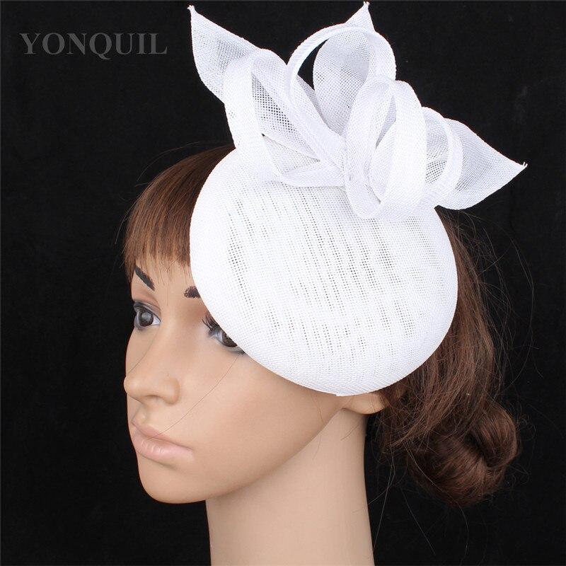 Винтажный головной убор цвета хаки, головной убор Sinamay, головной убор для особых случаев, шляпа Кентукки Дерби, церковная Свадебная вечеринка, гонка, высокое качество - Цвет: Белый