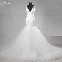 RSW1097 Alibaba Retail Store V Neckline Long Mermaid Tail Tulle Satin Wedding Dresses