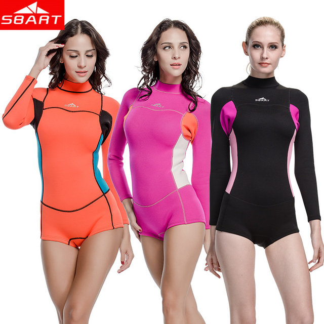 SBART Surf Neoprene Wetsuits Women 2MM Surfing Wetsuits One Piece Swimming Snorkeling Diving Wet Suit Long Sleeve Swimming Cloth
