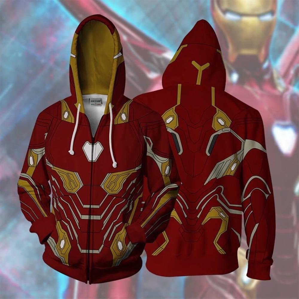 BIANYILONG 2019 men hooded infinity war Iron Man 3D printed hoodies sweatshirt casual Hooded zipper hip hop tops