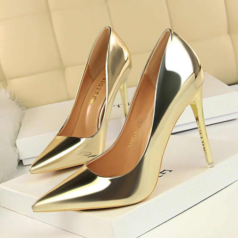 BIGTREE Frauen Pumpen Patent Leder High Heels Mode Frauen Schuhe Sexy Frauen Heels Party Schuhe Frauen Hochzeit Schuhe Plus Größe 43