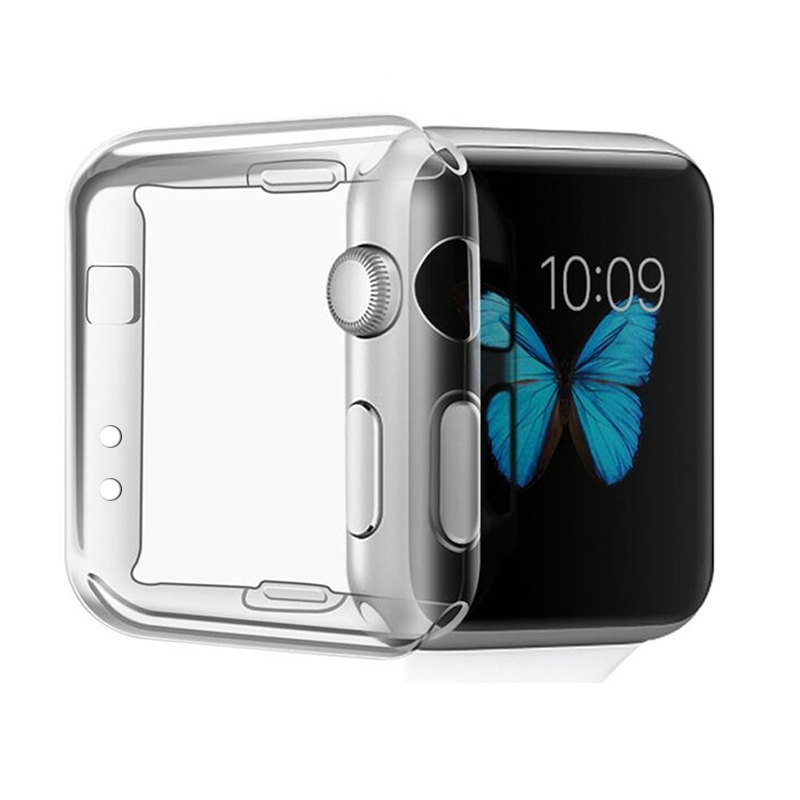 Newest Ultra-thin Transparent TPU Protective case with screen protector Watch Shell Cover For Apple Watch Series2 38mm 42mm