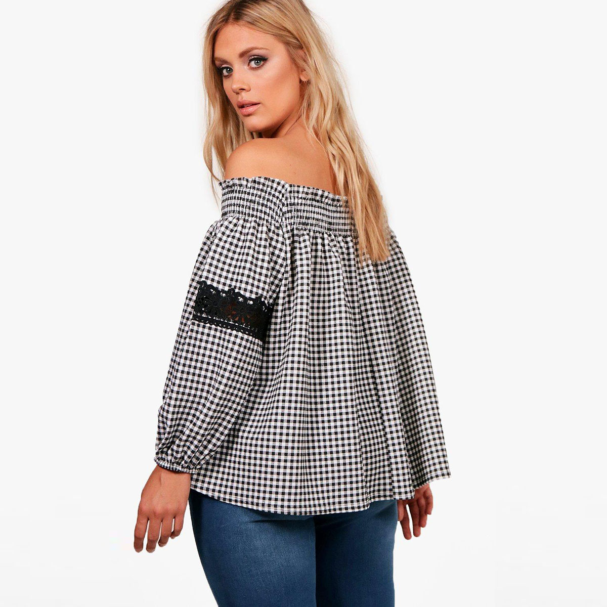 MCO 2018 Sexy Off Shoulder Plus Size Plaid Top Casual Lace Oversized Gingham Bardot Blouse Basic Big Women Clothing 5xl 6xl 7xl 2