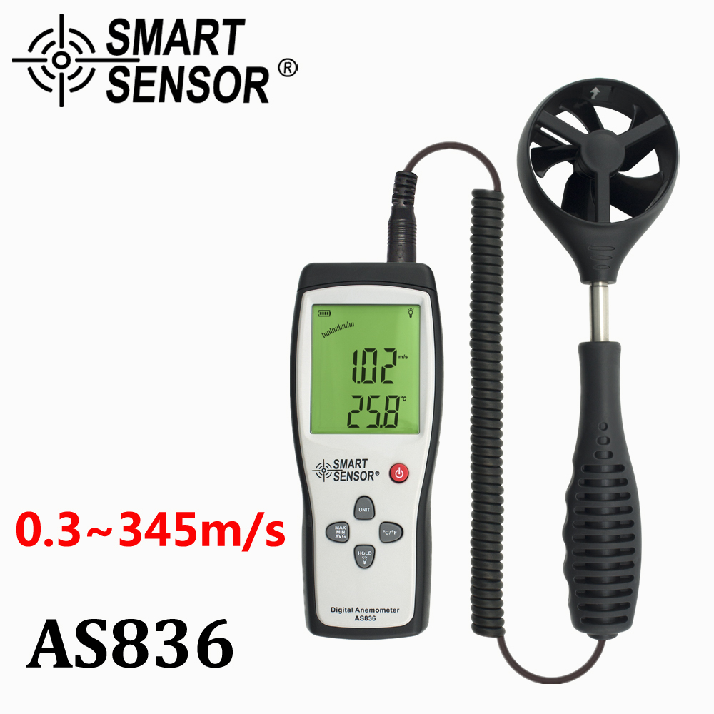 Digital Wind Speed Meter anemometer Gauge diagnostic-tool Air wind Velocity meter 45m/s Temperature Measuring Data Hold AS836 tl 300 digital lcd air temperature anemometer air velocity wind speed meter