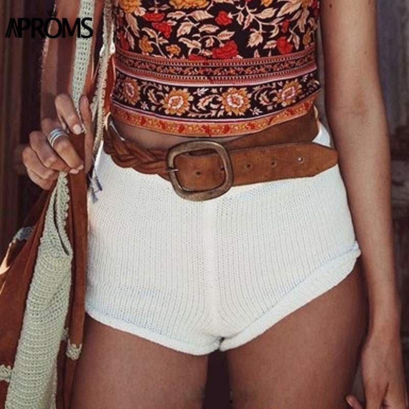 Aproms Summer Solid Color Knitted High Waist Shorts Women 17 Boho Cools Girls Streetwear Beach Elastic Shorts Female Bottoms 7