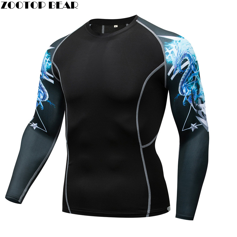 Blue Dragon MMA Compression shirt Men quick dry Elastic Base Layer Skin Tight Weight Lifting Crossfit Top Tee Rash guard Fitness