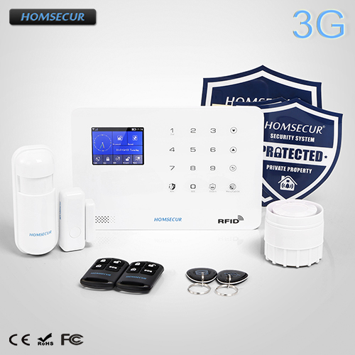 цена на HOMSECUR Wireless LCD 3G/WCDMA RFID SMS Autodial Home Security Alarm System