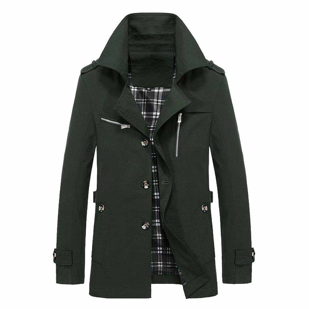 Мужская зимняя теплая куртка, верхняя одежда, тонкий длинный Тренч, пальто на пуговицах, Oct.5