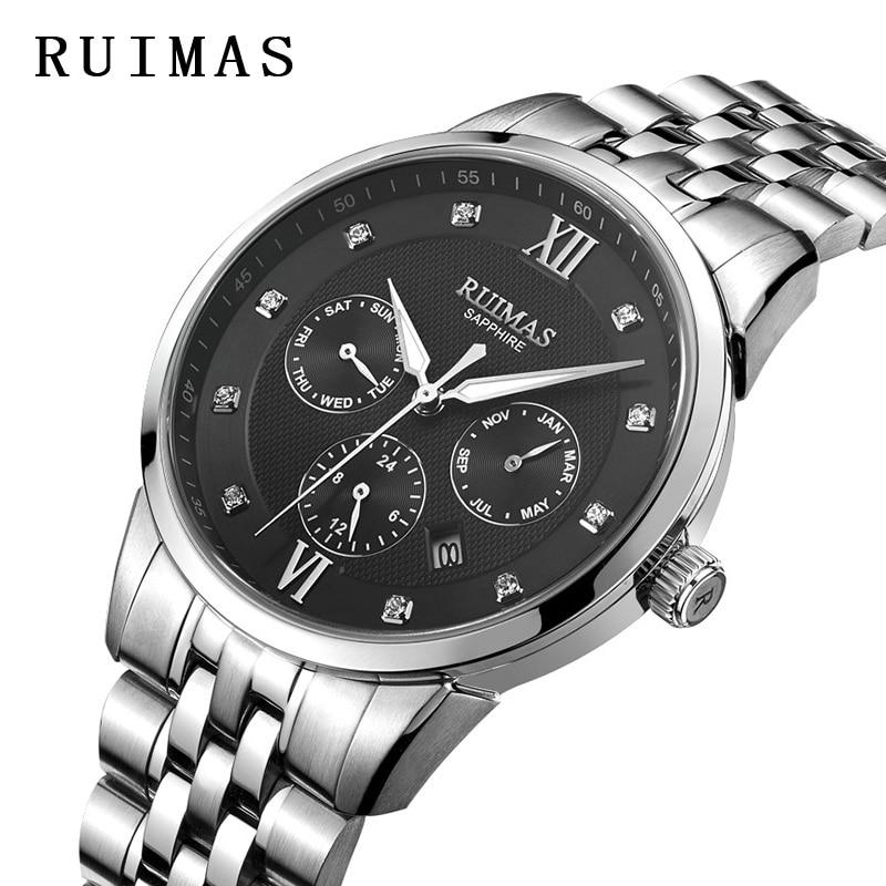 RUIMAS автоматические часы мужские классический Элитная одежда механические часы MIYOTA 9120 Мужской Бизнес наручные часы Reloj Hombre 2018