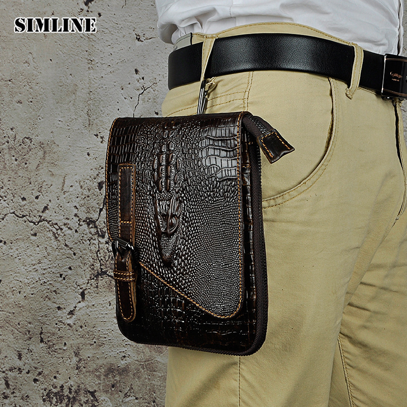 SIMLINE Brand Vintage Casual Genuine Leather Cowhide Men Mens Small Messenger Shoulder Crossbody Bag Waist Pack Bags For Man simline 2017 vintage genuine crazy horse leather cowhide men men s messenger bag small shoulder crossbody bags handbags for man