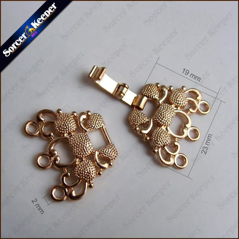 18K Gold Plated Carved Rose Magnetic Clasp Buckle Hooks