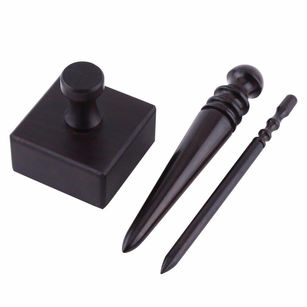 Black Wood Muiti-size Leather Edge Burnisher Craft Tool 3 Types DIY Leather tool