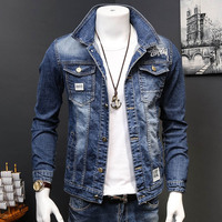 Wholesale 2019 Casual street Men's Denim Jacket Spring and Autumn Men's Student Slim Handsome washing 3D embroidered Jacket