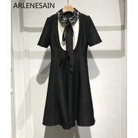 Arlenesain custom Heavy nail collar high end silk fabric Slim beautiful printing printed sleeves silk dress
