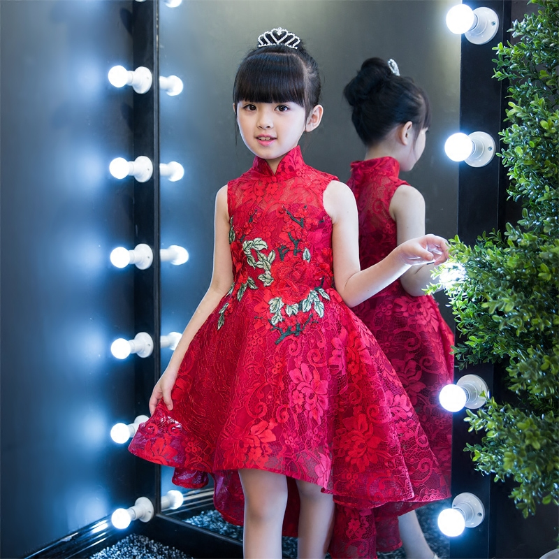 2017 New Arrival Chinese Traditonal Red Color Children Girls Cheongsam princess Lace Dress Kids Ball Gown Birthday Party Dress free shipping new red hot chinese style costume baby kid child girl cheongsam dress qipao ball gown princess girl veil dress