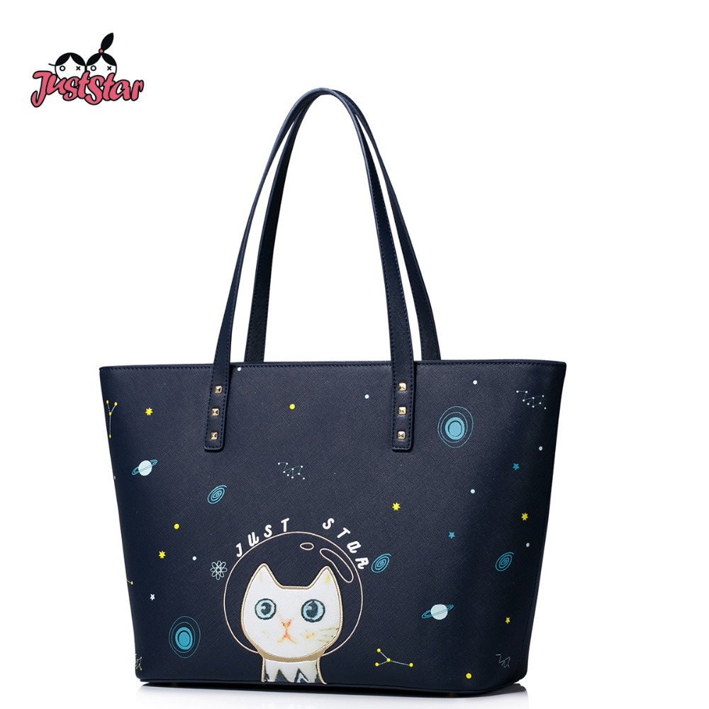 Just Star Women PU Leather Shoulder Bags Female Embroidery Cat Handbag Ladies Cartoon Printing Out Space Cute Tote Bags JZ4202 just star women s pu leather handbag ladies cartoon cat embroidery tote shoulder purse female leisure messenger bags jz4492