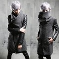 Men Wool PU Leather Jacket Slim Punk Overcoat 2016 Fashion Mens Cashmere Coat Winter Thicken Long Trench Coat