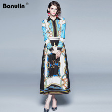 Runway Designer Vintage Blue Contrast Color Maxi Dress 2019 Summer Women Long Sleeve Turn Down Collar Chain Print Long Dress цены