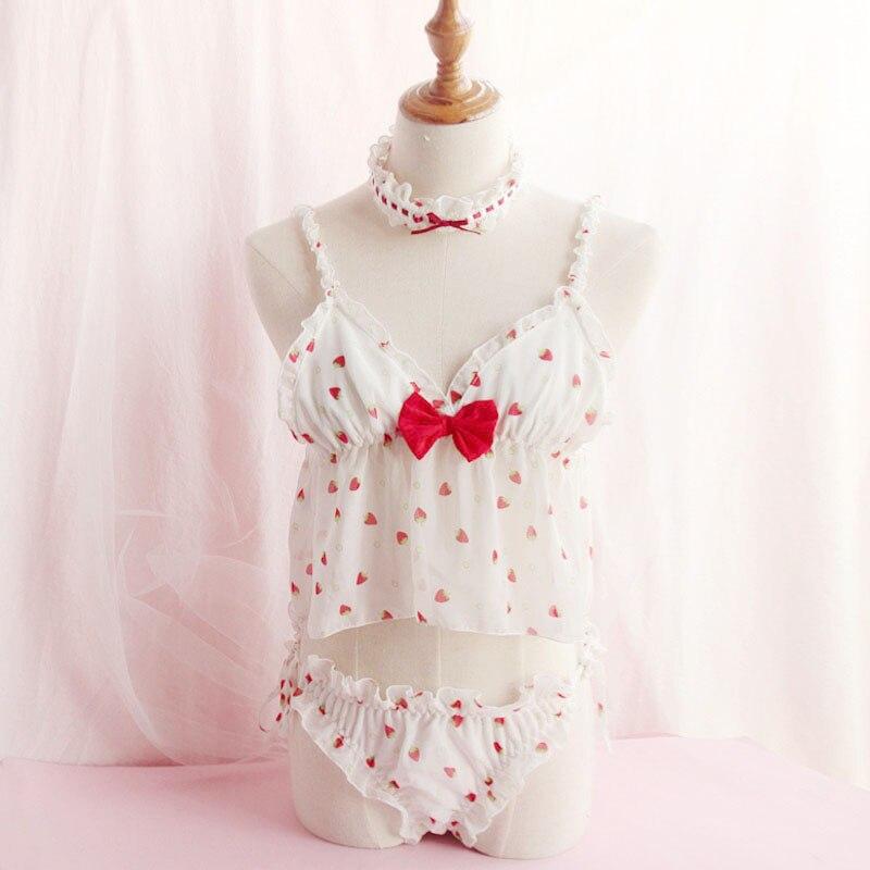 Japonés Lolita Fresa Pijamas Camisón Gasa Dulce Sexy Translúcido Bind  Pantalones Ropa De Dormir Y Ropa
