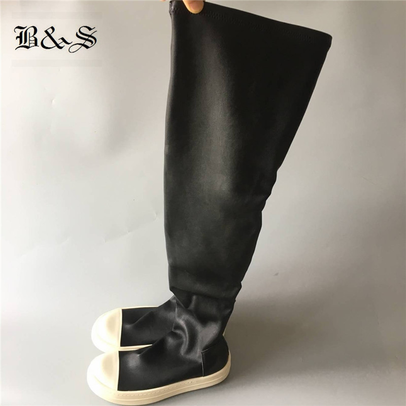 Black& Street Knee High Women Sock Boots classical stretch fabric+ leather Slim Fit winter BootsBlack& Street Knee High Women Sock Boots classical stretch fabric+ leather Slim Fit winter Boots