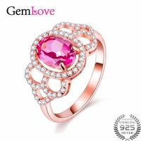 Gemlove Topaz Birthday Gift Rings For Girls 925 Sterling Silver Rose Gold Plated Gemstone Ring With