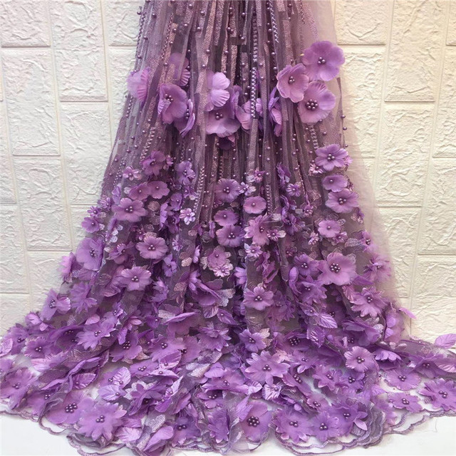 Luxury Party Dress African French Tulle Lace Nigeria Purple 3D Applique High Quality Beaded Net Lace Fabric with Flowers X1512