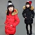 Espessamento Casacos de Inverno Para Meninas Adolescentes Moda Capuz De Pele Para Baixo Casacos Para As Meninas Com Zíper Camisola Roupa Dos Miúdos
