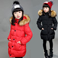 Thickening Winter Jackets For Teenage Girls Fashion Fur Hood Down Coats For Girls Zipper Sweater Kids Clothes