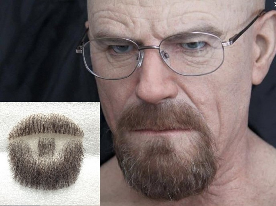 Factory sell man false whiskers, invisible mustache and full beard for costume./human hair beard image
