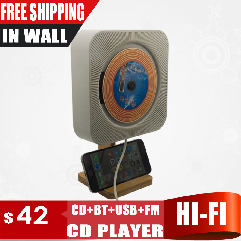 New Touch Key In Wall Mounted CD Player Support CD, Blue Tooth, FM Radio MP3, USB, 3.5mm Stereo Audio Out, Bamboo Stand Holder cd key battle net warcraft