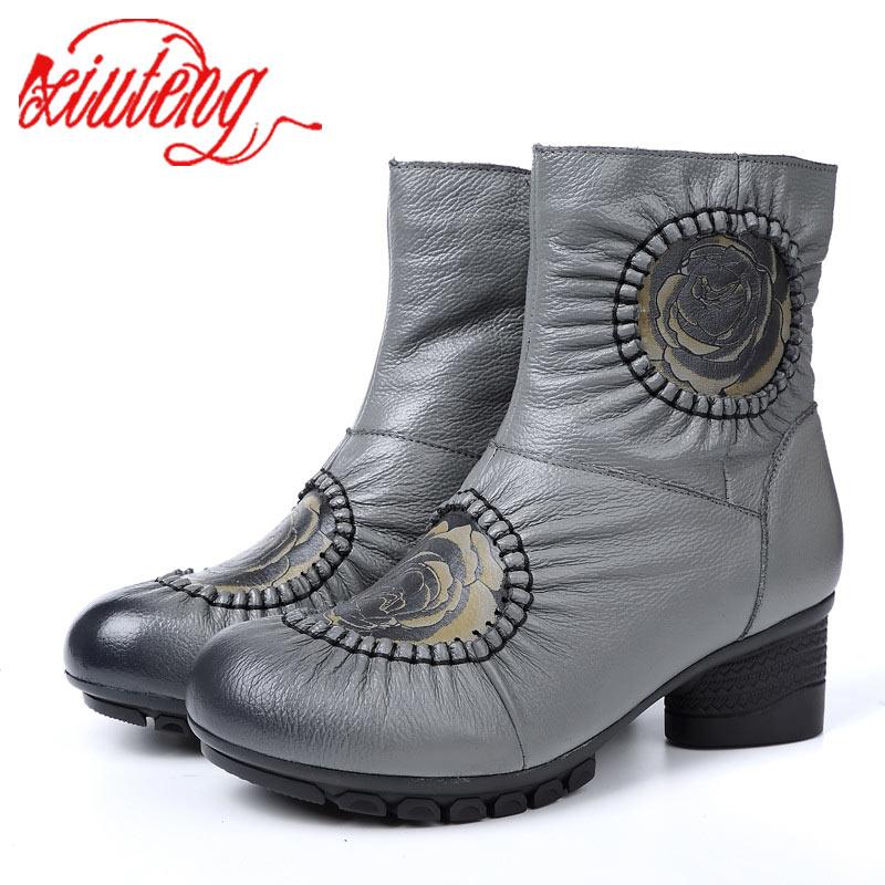 3f45a06e9 Genuino Felpa Nieve Botines Mujer Zapatos Botas Xiuteng xt0059 A De gray  Hecho Invierno black Mano ...
