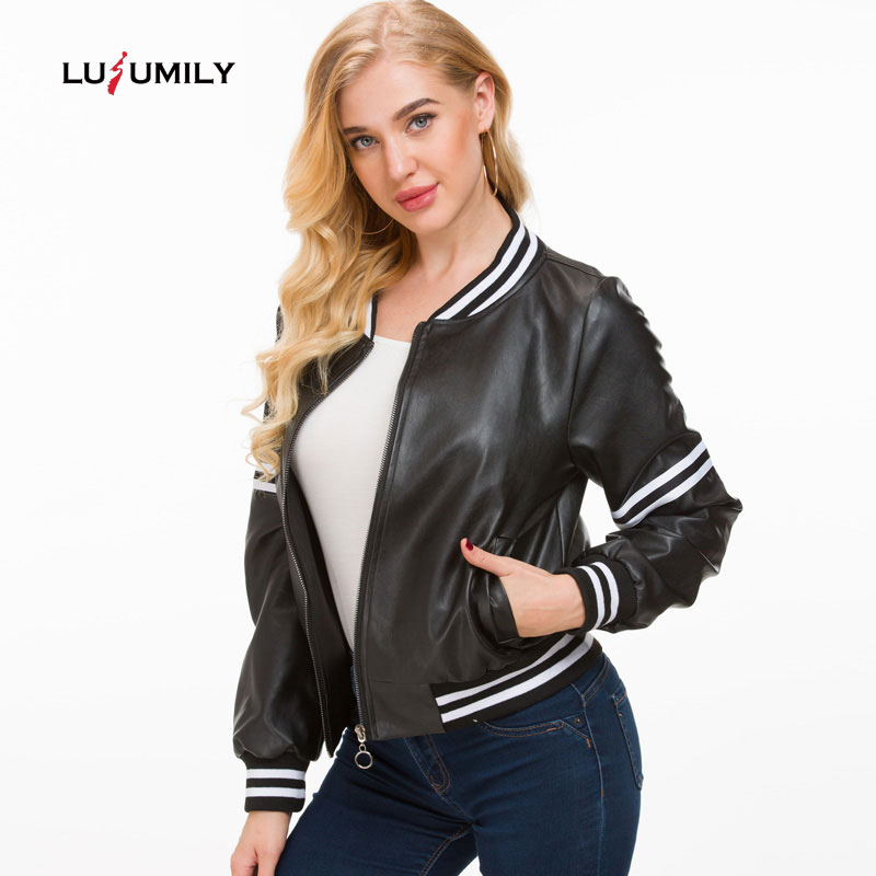 Lusumily 2019 New   Leather   Jacket Women Black   Leather   Short Coat Female Faux Sheepskin Biker Slim Female Pu Motorcycle Jackets