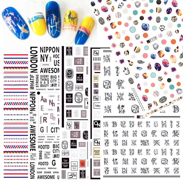 1 sheets fashion cool diy letter adhesive templates 3d nail art sticker transfer decals for makeup