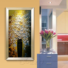 1 Pcs Palette Knife Oil Painting Artwork Tree Of Life Canvas For Kitchen Handmade Type Cuadros Decoraction Unframed