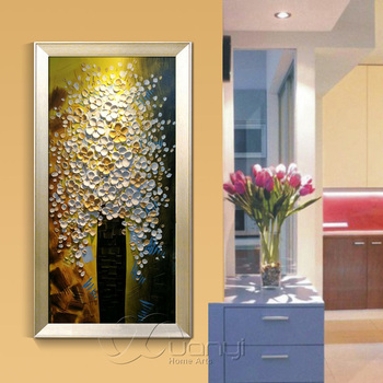 1 Pcs Palette Knife Oil Painting Artwork Tree Of Life Canvas Painting For Kitchen Handmade Type Cuadros Decoraction Unframed