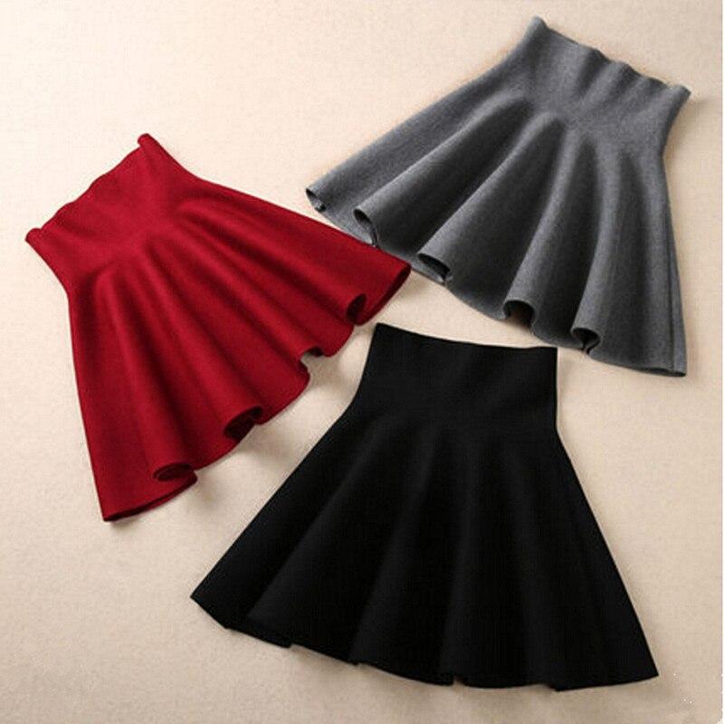 2019 Spring Autumn New Women Skirt Knitting Woolen Midi Skirt Ladies High Waist Casual Pleated Elastic