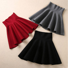 2019 Spring Autumn New Women Skirt Knitting Woolen Midi Skirt Ladies High Waist Casual Pleated Elastic Flared Skirts Womens