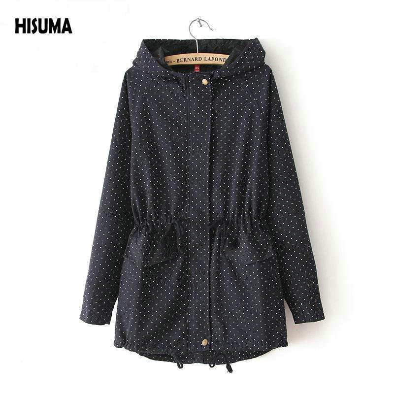 2017 Spring autumn new Women's Polka Dot Sweep Medium-long Drawstring Outerwear Women Long-sleeve with A Hood   Trench   Female Coat