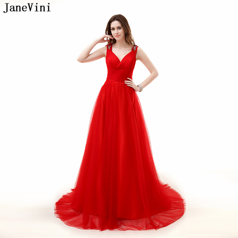 JaneVini Charming Red Tulle Long Plus Size   Bridesmaid     Dresses   with Beaded 2018 V Neck A Line Sweep Train Party Gowns Prom Wear