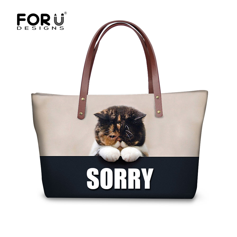 ФОТО FORUDESIGNS Fashion Cat Women Messenger Bag Woman Handbag Famous Brand Designer Tophandle Bags High Quality Animal Tote For Lady