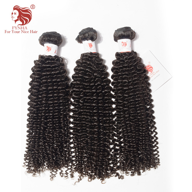 Fynha Kinky Curly Weave Brazilian Remy Hair 3 Bundles Human Hair