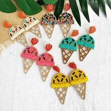 цена на Design Ice Cream Shaped Drop Earrings Women Wedding Gifts Cute Vintage Pink Heart Handmade Beads Tassel Crystal Earring Jewelry