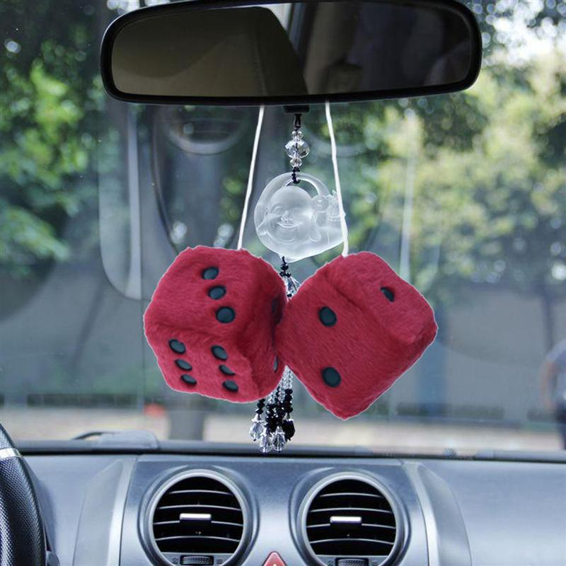 fuzzy dice hanging charm auto car rearview mirror hanging accessories for car decoration red. Black Bedroom Furniture Sets. Home Design Ideas