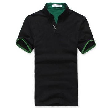 Classic Men Stand Collar T Shirt Short Sleeve Tee T-shirt Solid Color M-XXXL Free shipping Wholesale 2