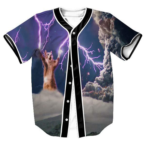 Summer 3D Print Lightning Cat Baseball T Shirt Fashion Short Sleeved Button  Cardigan Hip Hop Style Tops Tees Harajuku T Shirts-in T-Shirts from Men s  ... 1ed1e79ce