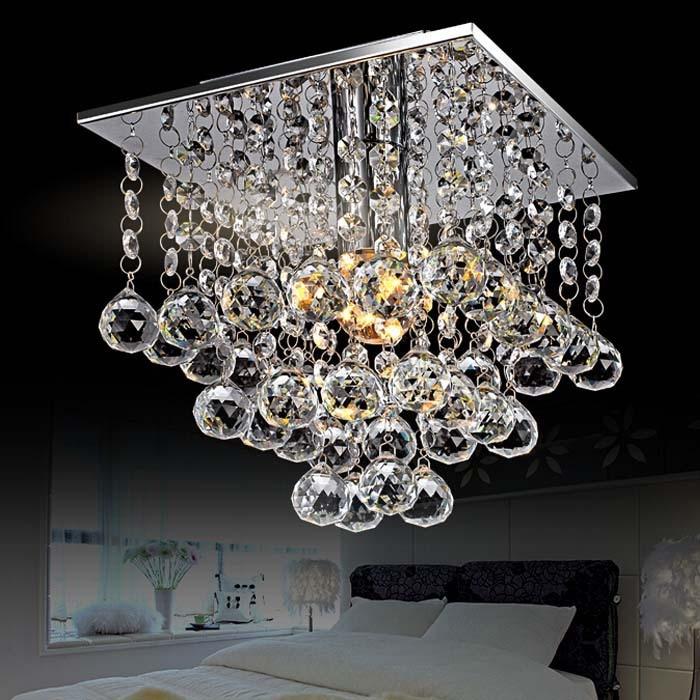 Modern Flush Mount Crystal Beaded Chandelier Lights With 1