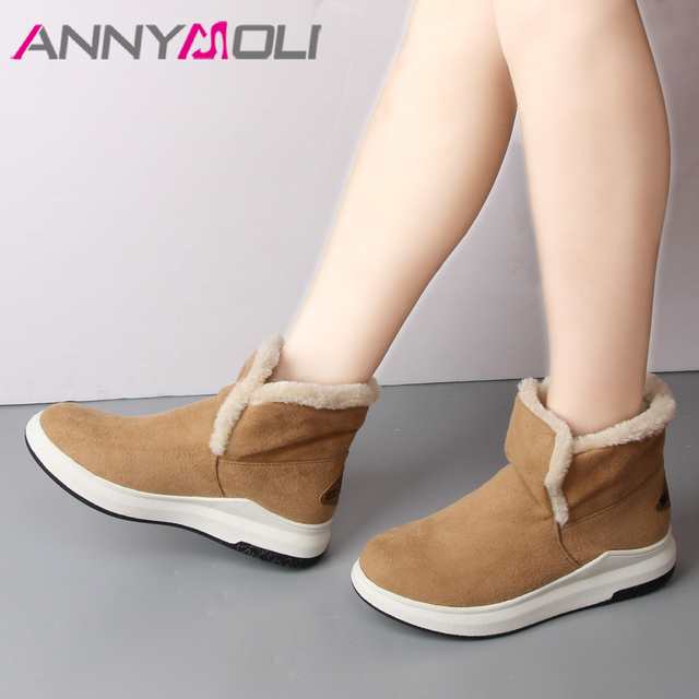 ANNYMOLI Winter Snow Boots Ankle Boots  Fur Inside Wedges Heel  Platform Shoes Woman Plush Lady Footwear  Gray Size 34-43