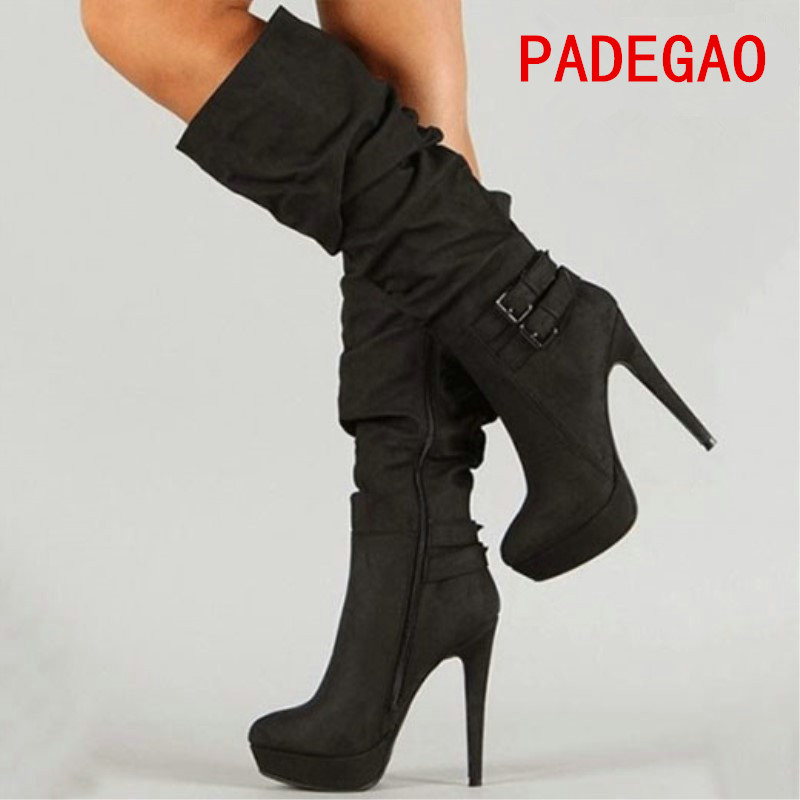 PADEGAO 2017Fashion Women Boots Mid-Calf Black Woman Boots Warm Party sexy Waterproof 12.5cm Hee Bucklel Boots Shoes  Plus Size double buckle cross straps mid calf boots
